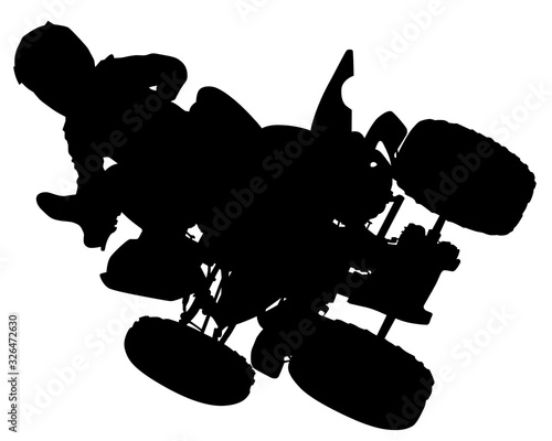 Wall mural Man in protective clothing rides a sports bike. Isolated silhouette on a white background