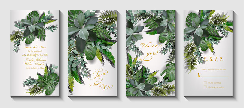 Wedding invitation with leaves palm. Vector illustration, EPS 10