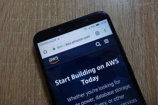 KONSKIE, POLAND - December 09, 2018: Amazon Web Services (AWS) website (aws.amazon.com) displayed on smartphone