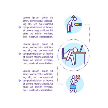 Unmotivated worker concept icon with text. Skipping work. Absenteeism. Depression. PPT page vector template. Brochure, magazine, booklet design element with linear illustrations
