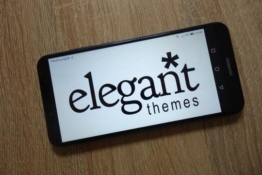 KONSKIE, POLAND - December 09, 2018: Elegant Themes logo displayed on smartphone