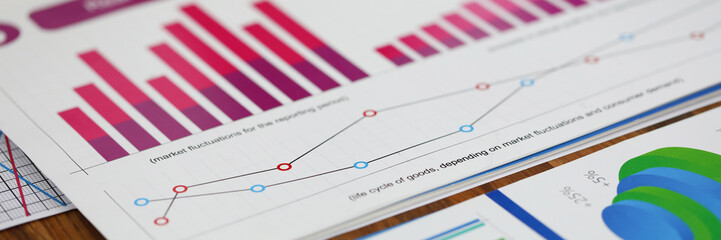 Close-up of biz documents with statistics data in charts, graphs and diagrams. Financial forecast of growth income. Stock Exchange, Securities Market concept. Blurred background Fototapete