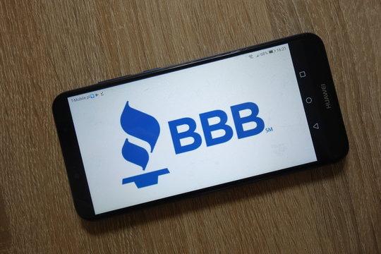 KONSKIE, POLAND - December 09, 2018: Better Business Bureau (BBB) logo displayed on smartphone