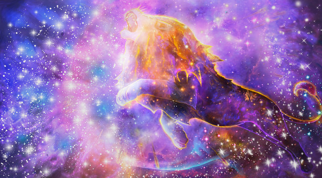 Abstract Artistic Digital Paint Of A multicolored Lion Roaring In a Nebula Background