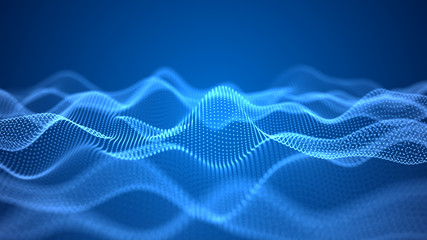 Printed roller blinds Abstract wave Digital dynamic wave of particles. Abstract futuristic blue dots background. Big data visualization. 3D rendering.