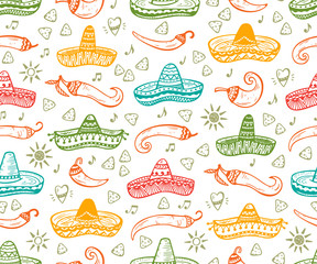 Colorful Mexican Seamless patterns. Mexico Vector background. Hand drawn doodle Mexican Sombrero, Sun, Pepper Chili, Nachos