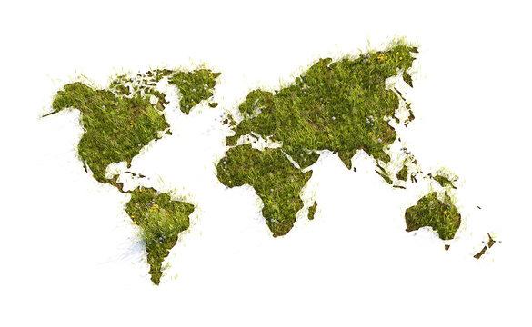 World Map grass field - 3D illustration