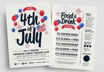 4Th of July Flyer Layout with Balloon Illustrations