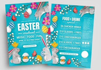 Easter Flyer Layout with Rabbit and Egg Illustrations