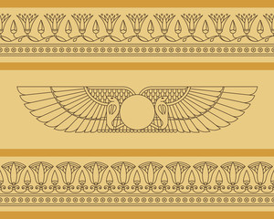 Vector seamless horizontal pattern of winged disk in egyptian style with lotus flowers