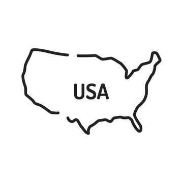 USA map black line icon. Border of the country. Pictogram for web page, mobile app, promo. UI UX GUI design element. Editable stroke.