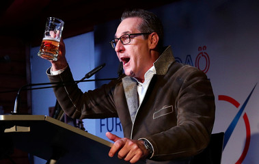 Former FPOe head Strache delivers a speech on political Ash Wednesday in Vienna