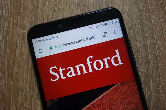 KONSKIE, POLAND - December 09, 2018: Stanford University website (www.stanford.edu) displayed on smartphone
