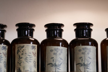 Vintage brown glass apothecary jars