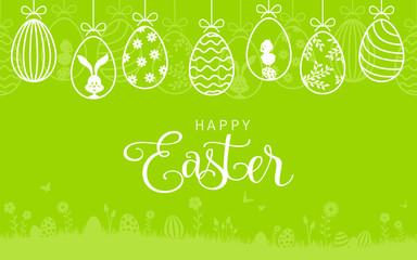 Wall Mural - Happy easter card with easter bunny and hanging easter eggs background
