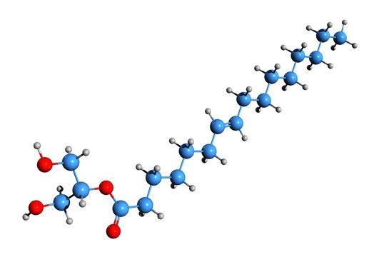 3D image of 2-Oleoylglycerol skeletal formula - molecular chemical structure of endocannabinoid 2OG isolated on white background
