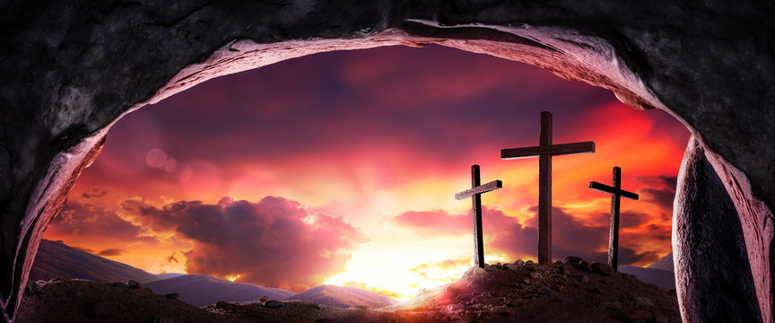 View Of Three Wooden Crosses And Sunrise From Open Tomb - Death And Resurrection Of Jesus Christ