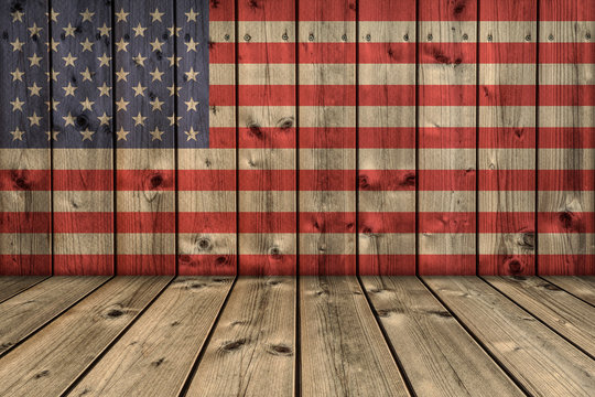 USA background. USA flag elements on wood in perspective interior room.