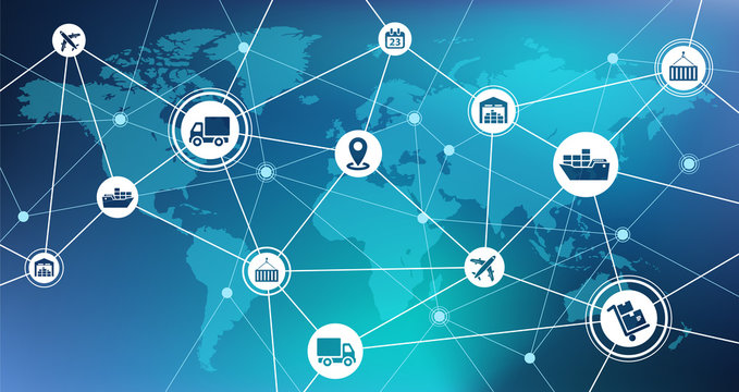 Global shipping and supply chain vector illustration. Abstract concept with world map background and connected icons related to international import / export, distribution and transportation.