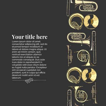 Template with brass musical instrument