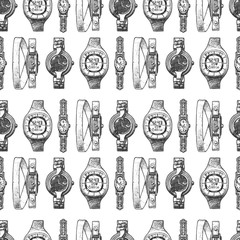 Wall Mural - Seamless pattern with different wristwatches.