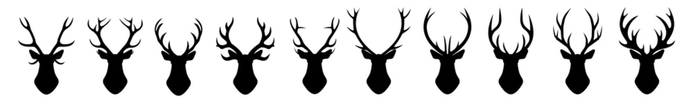 The head of a deer. Set of different deer horns on a white background. Vector graphics in a flat style on a transparent background for web sites