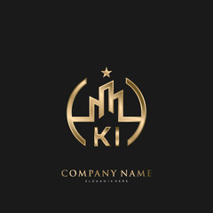 Obraz KI Initial Letter Real Estate Luxury house Logo Vector for Business, Building, Architecture - fototapety do salonu