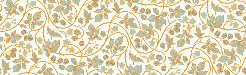 Poster Kunstmatig Floral botanical blackberry vines seamless repeating wallpaper pattern- serene gold and pale turquoise version