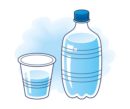 Clean spring water bottle with glass or plastic cup