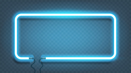 Neon rectangle lamp wall sign isolated on transparent background. Vector blue power glowing bulb banner, light line or neon frame for your design. Vector Illustration. Fotomurales