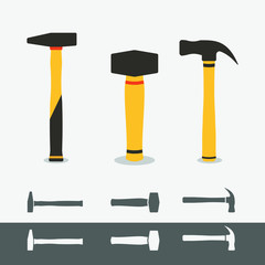 3 different hummer icons isolated. Flat hammer symbol.Claw Hammer, Club Hammer,Cross-peen hammer.