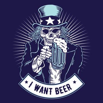 Uncle Sam Skull Holding Glass of Beer