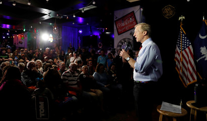 Democratic U.S. presidential candidate and billionaire activist Steyer speaks at a meet and greet in Myrtle Beach