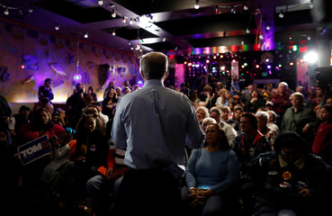 Democratic U.S. presidential candidate and billionaire activist Tom Steyer speaks at a meet and greet at Nacho Hippo in Myrtle Beach