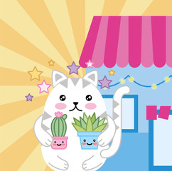 Aluminium Prints Cats cute little cat with house plant kawaii character