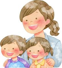 子供たちの肩に手を置く女性