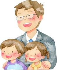 子供たちの肩に手を置く男性