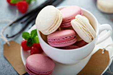 Printed kitchen splashbacks Macarons Vanilla and raspberry french macarons in a teacup