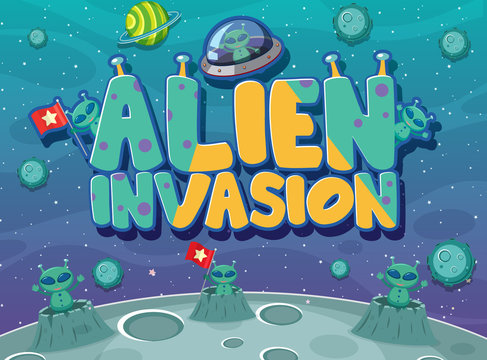 Poster design with alien invasion theme