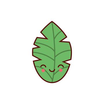 cute leaf plant kawaii character icon