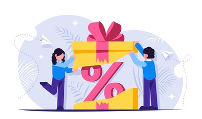 Customer loyalty program. Discount as a gift inside the box with a bow. Unexpected surprise. Pprofitable offer to buy a product or service. Vector isolated illustration.