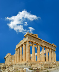 Wall Mural - parthenon in athens  city greece in spring  season blue sky and clouds