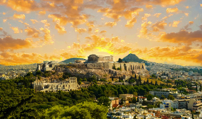 Wall Mural - acropolis parthenon caryatids landscape athesn greece in spring season evening