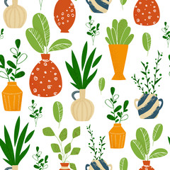 Indoor potted plants or home flowers seamless pattern on white. Vector endless texture with green different plants, leaves, ceramic pots, background potted houseplants for textile, fabric, wrapping