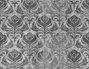 Swirl Damask Wallpaper Pattern, seamless tiling repeating background grunge texture, grayscale concrete grunge version