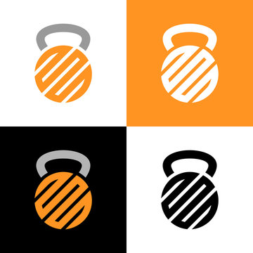 Abstract kettlebell logo design element, gym and fitness club symbol, gym weights kettlebells icon