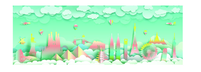 Wall Mural - Travel with landmarks top of the world famous monuments countries.