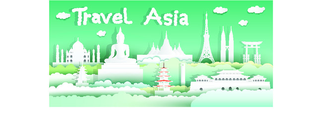 Wall Mural - Landmarks of the world with city and tourism asia background, Travel around the world to Japan, China, Thailand, Malaysia, Asia with paper cut with style for travel poster and postcard.