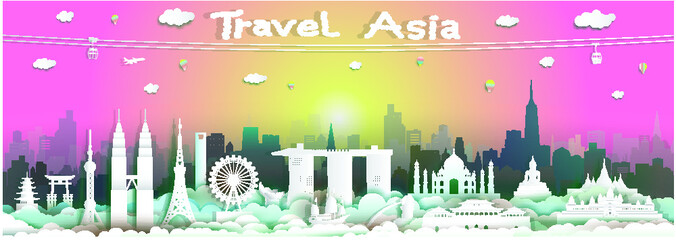 Wall Mural - Landmarks of asean and reflection in sunrise background, Traveling with cabel car, balloon and airplane, Travel around the world to Asia with paper cut origami style for travel poster and postcard.