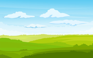 Wall Murals Lime green Spring landscape with a dawn, an elongated format for the convenience of using it as a background. Vector illustration of spring landscape